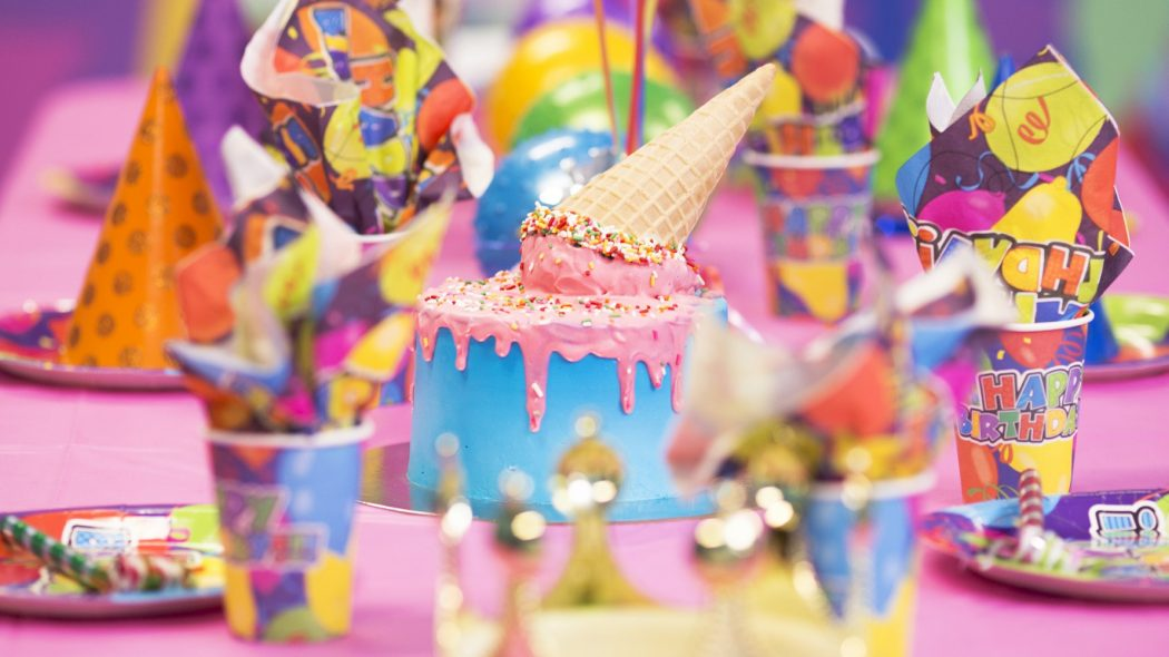 ice-cream cake at pictured at a birthday party