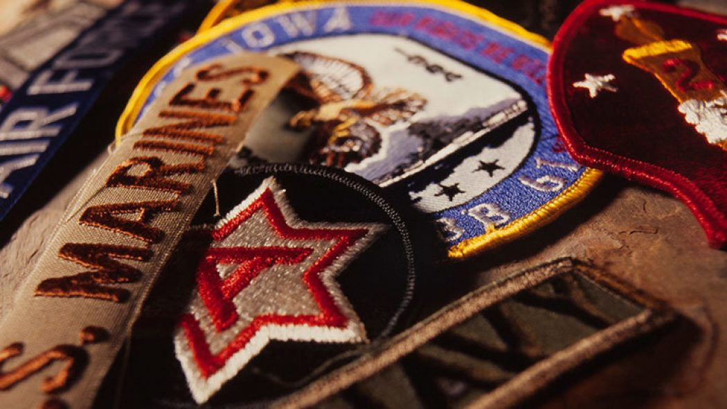 Close up image of military and service badges
