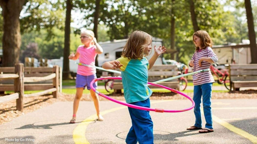 Kids playing hula hoop at the RV Resort