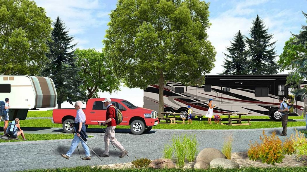 A rendering of an RV Resort facility